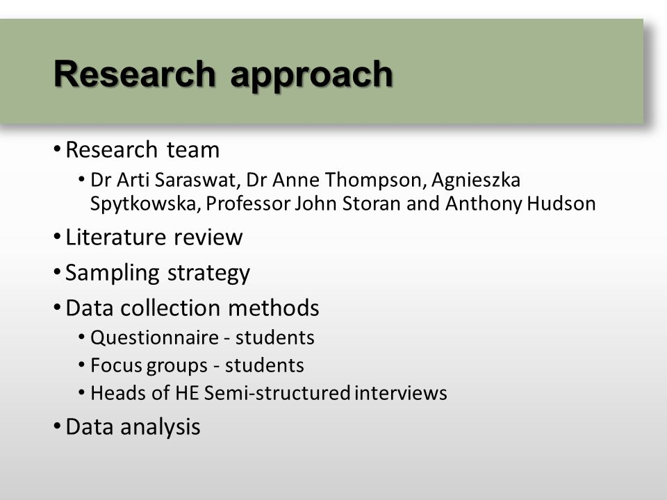 Research approach Research team Dr Arti Saraswat, Dr Anne Thompson, Agnieszka Spytkowska, Professor John Storan and Anthony Hudson Literature review Sampling strategy Data collection methods Questionnaire - students Focus groups - students Heads of HE Semi-structured interviews Data analysis