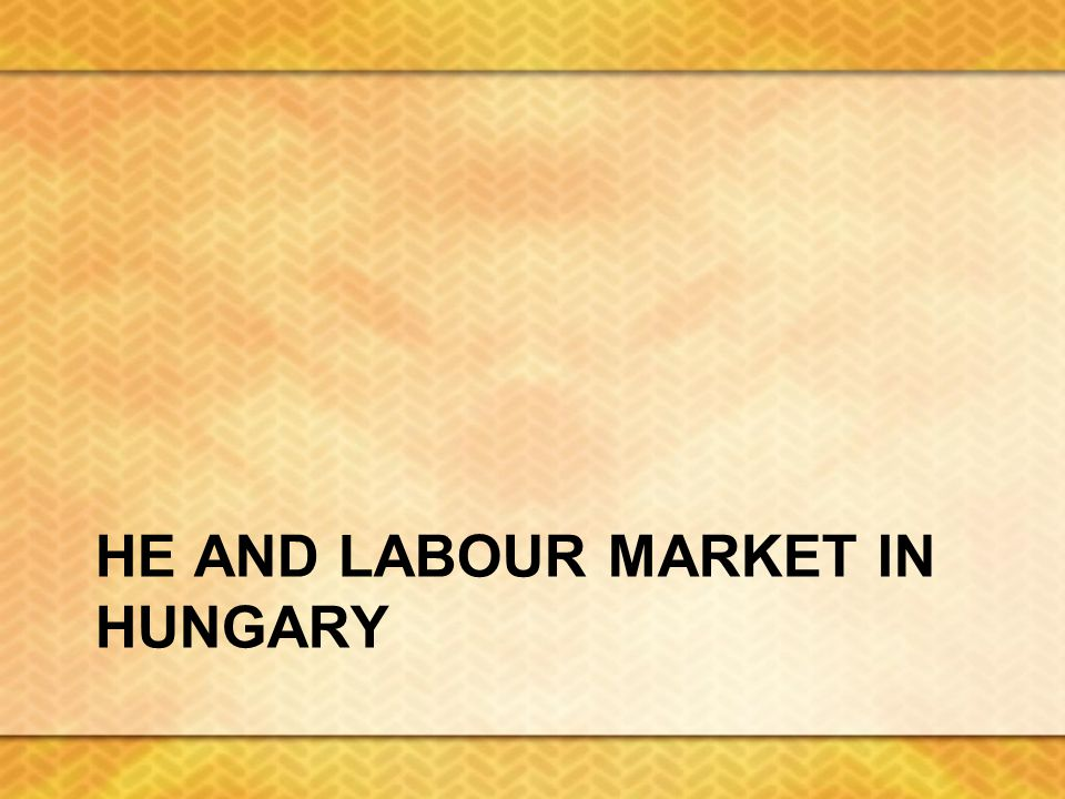 HE AND LABOUR MARKET IN HUNGARY