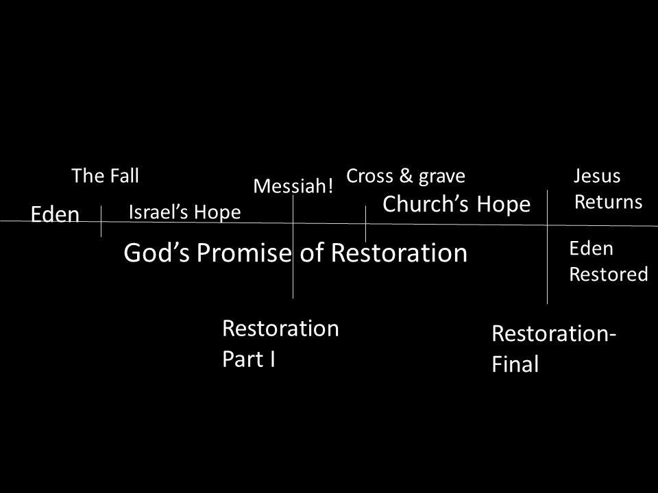 Eden The Fall God's Promise of Restoration Messiah! Israel's Hope Restoration Part I Cross & grave Church's Hope Jesus Returns Restoration- Final Eden