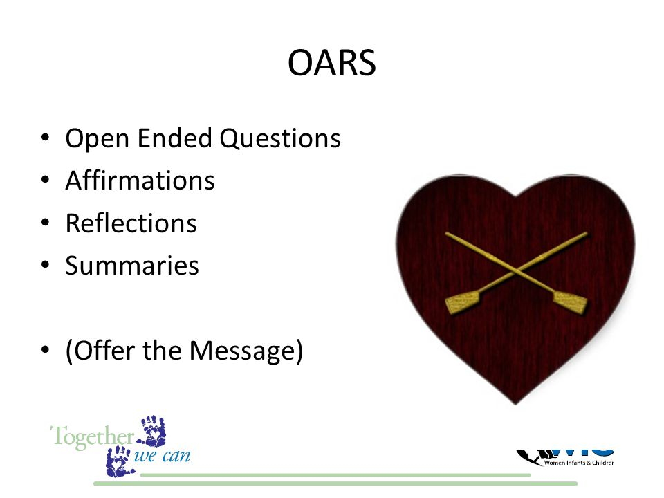 OARS Open Ended Questions Affirmations Reflections Summaries (Offer the Message)
