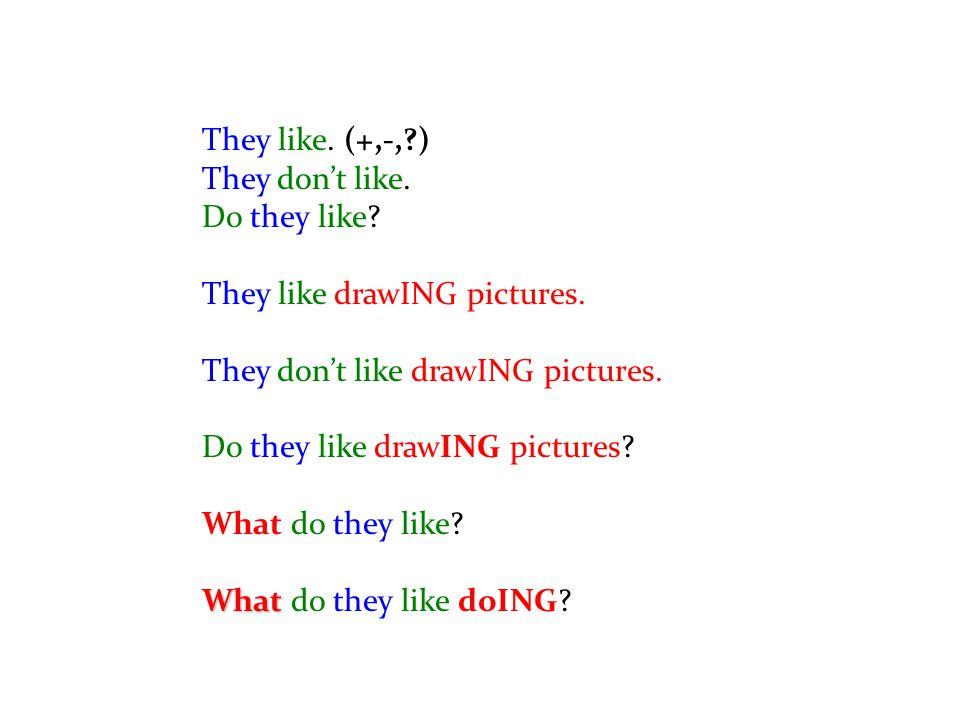 They like. (+,-,?) They don't like. Do they like? They like drawING pictures. They don't like drawING pictures. Do they like drawING pictures? What do