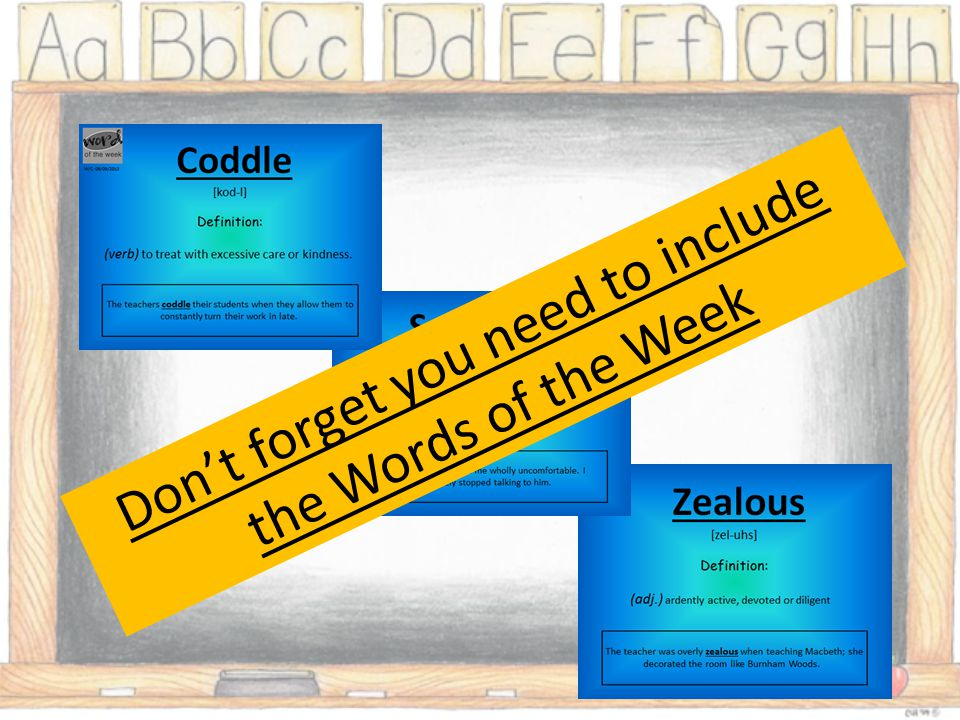 Don't forget you need to include the Words of the Week