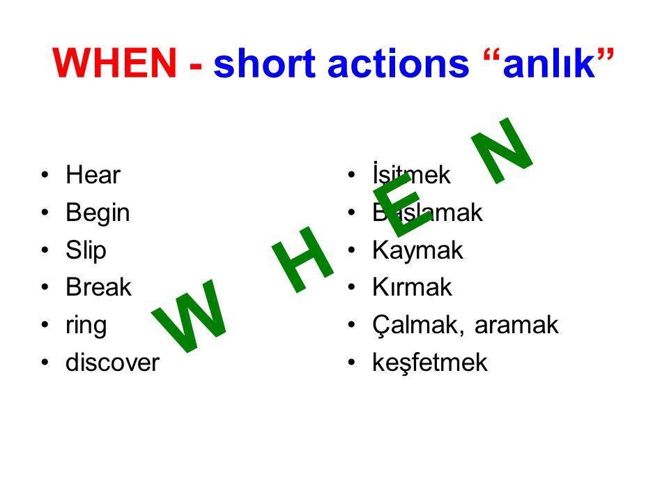 WHEN - short actions anlık Hear Begin Slip Break ring discover İşitmek Başlamak Kaymak Kırmak Çalmak, aramak keşfetmek W H E N