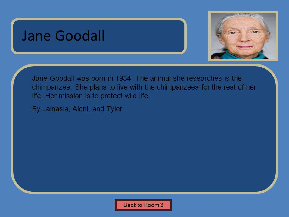 Name of Museum Jane Goodall was born in 1934. The animal she researches is the chimpanzee. She plans to live with the chimpanzees for the rest of her