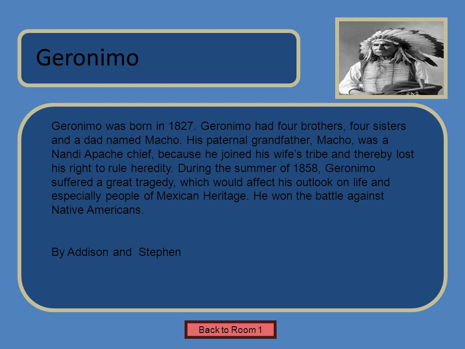 Name of Museum Geronimo was born in 1827.