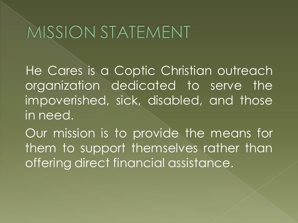 He Cares is a Coptic Christian outreach organization dedicated to serve the impoverished, sick, disabled, and those in need.