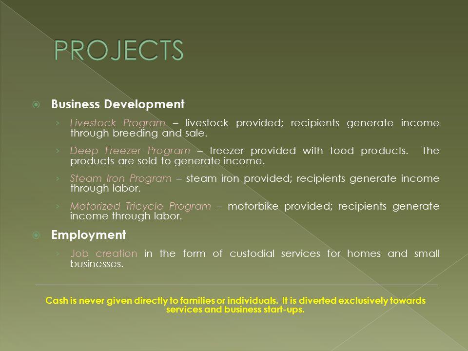  Business Development › Livestock Program – livestock provided; recipients generate income through breeding and sale.
