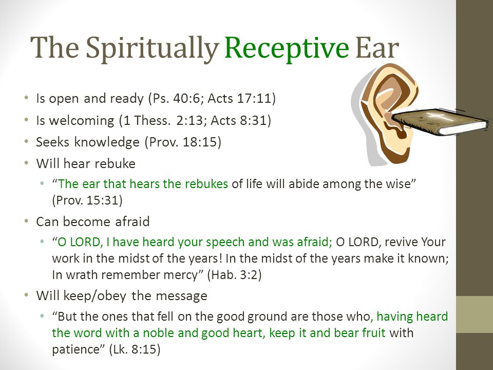 The Spiritually Receptive Ear Is open and ready (Ps.