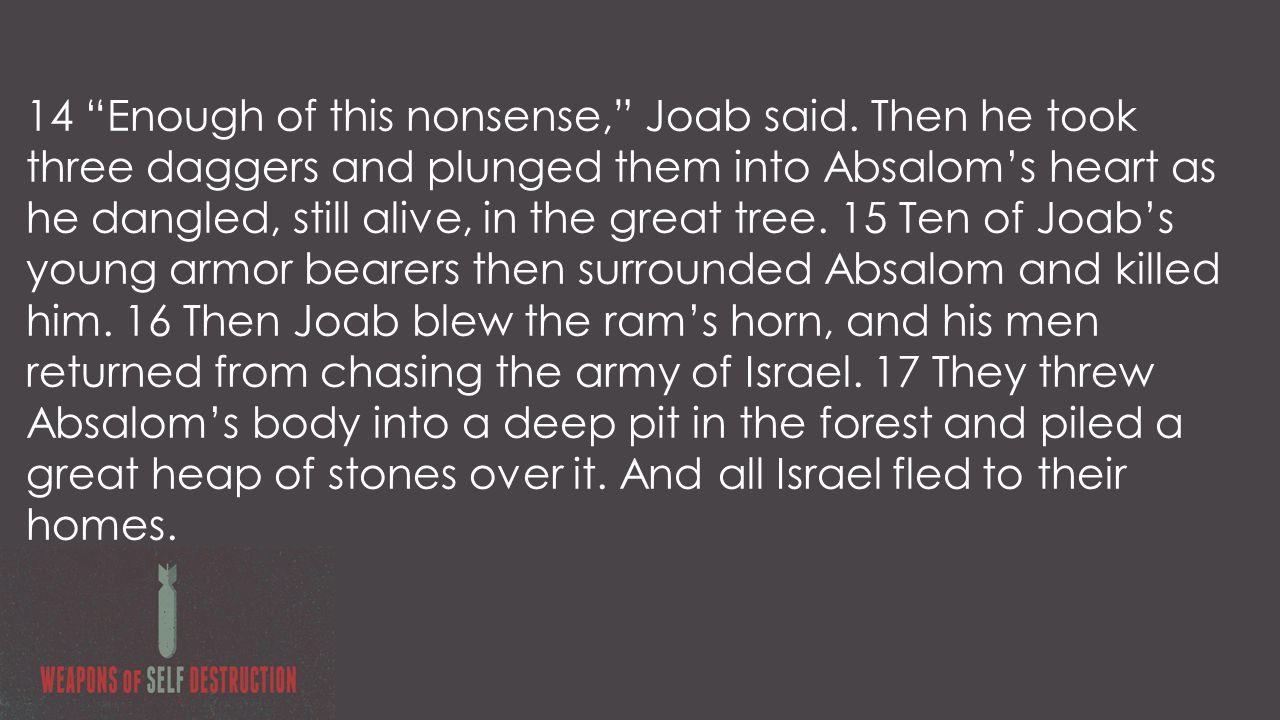 14 Enough of this nonsense, Joab said.