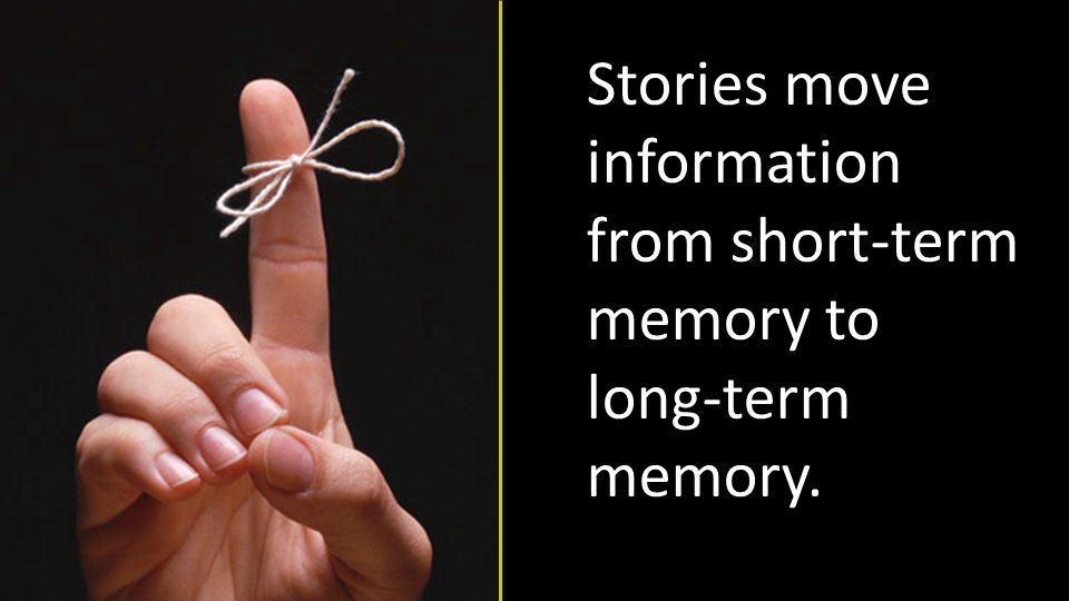 Stories move information from short-term memory to long-term memory.