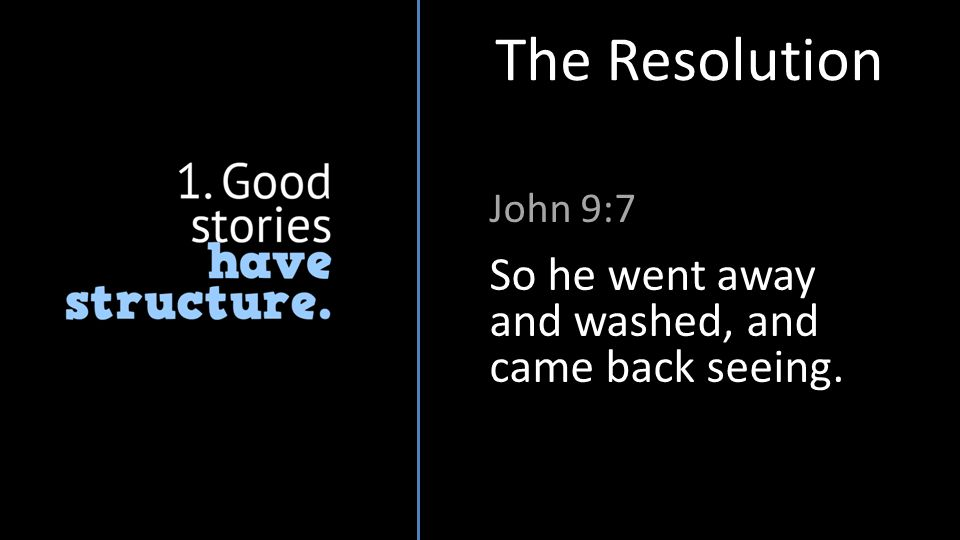 John 9:7 The Resolution So he went away and washed, and came back seeing.