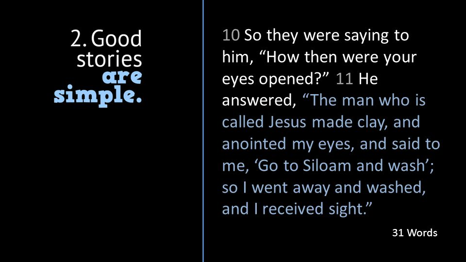 10 So they were saying to him, How then were your eyes opened 11 He answered, The man who is called Jesus made clay, and anointed my eyes, and said to me, 'Go to Siloam and wash'; so I went away and washed, and I received sight. 31 Words