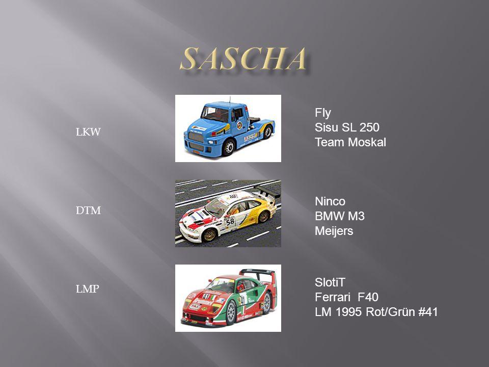 LKW DTM LMP Fly Sisu SL 250 Team Moskal Ninco BMW M3 Meijers SlotiT Ferrari F40 LM 1995 Rot/Grün #41