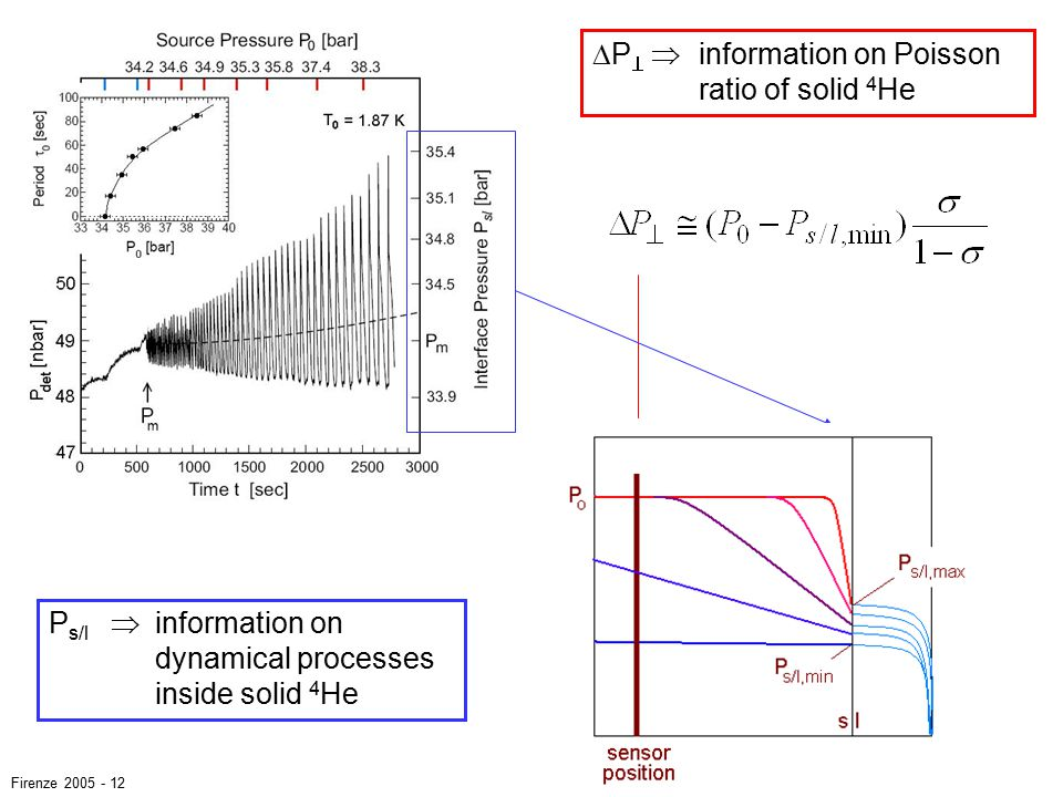 P s/l  information on dynamical processes inside solid 4 He  P   information on Poisson ratio of solid 4 He Firenze 2005 - 12