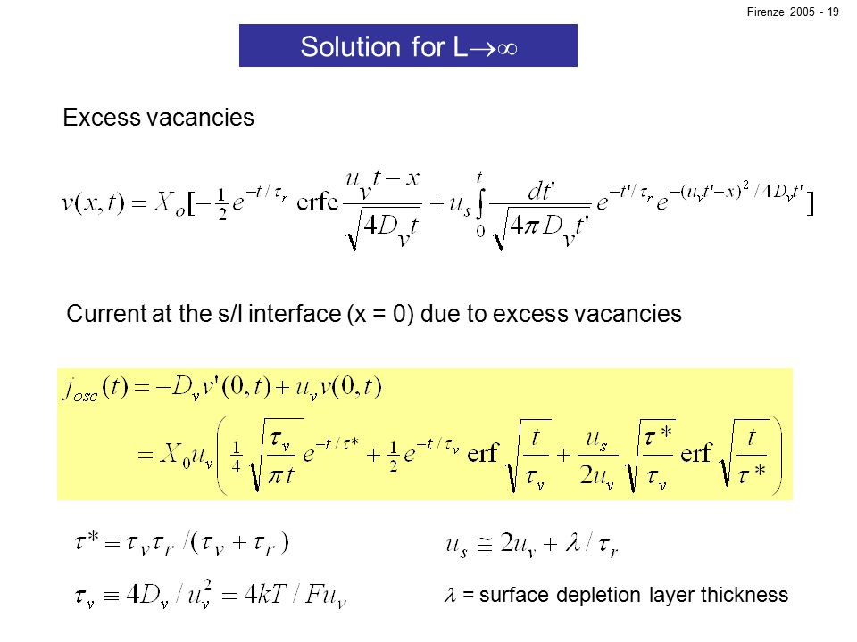 Solution for L  Excess vacancies Current at the s/l interface (x = 0) due to excess vacancies = surface depletion layer thickness Firenze 2005 - 19