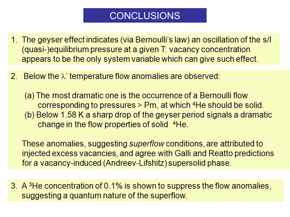 CONCLUSIONS 1.The geyser effect indicates (via Bernoulli's law) an oscillation of the s/l (quasi-)equilibrium pressure at a given T: vacancy concentration appears to be the only system variable which can give such effect.