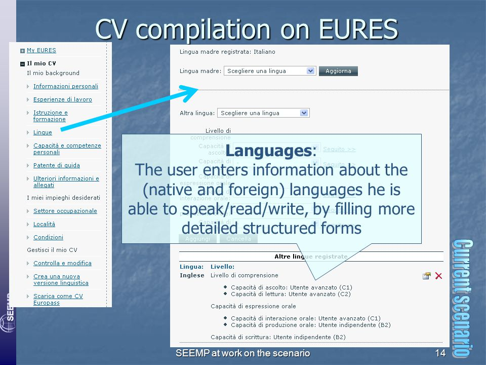 SEEMP at work on the scenario14 CV compilation on EURES Languages: The user enters information about the (native and foreign) languages he is able to speak/read/write, by filling more detailed structured forms