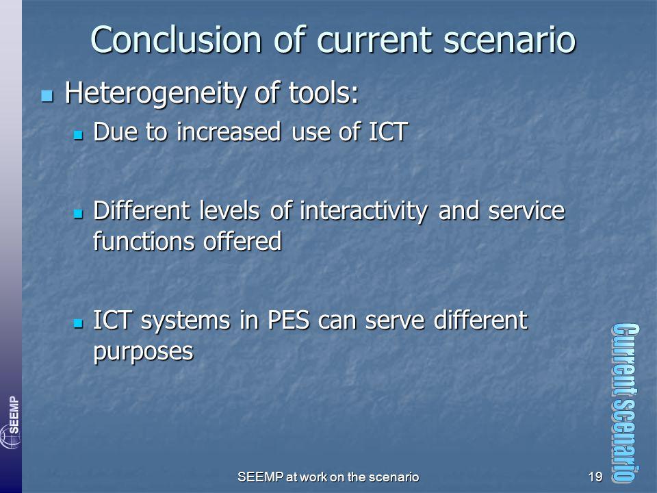 SEEMP at work on the scenario19 Conclusion of current scenario Heterogeneity of tools: Heterogeneity of tools: Due to increased use of ICT Due to incr