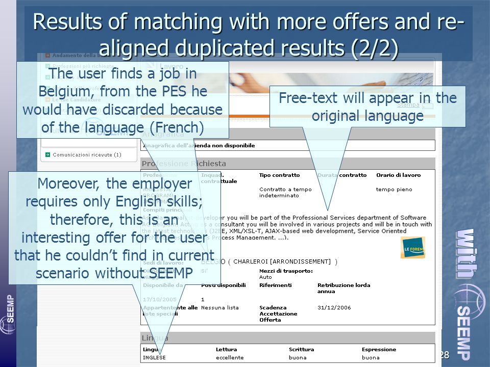 SEEMP at work on the scenario28 BELGIO ( ) Results of matching with more offers and re- aligned duplicated results (2/2) Risultati da The user finds a job in Belgium, from the PES he would have discarded because of the language (French) Moreover, the employer requires only English skills; therefore, this is an interesting offer for the user that he couldn't find in current scenario without SEEMP Free-text will appear in the original language