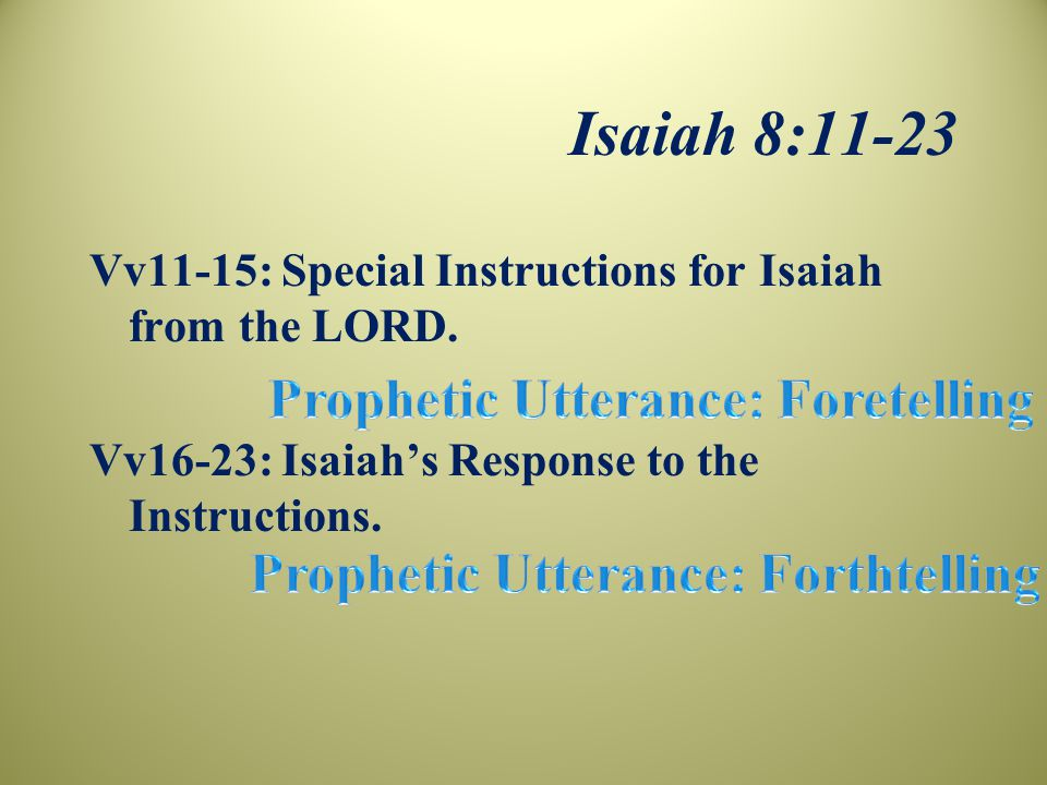 Isaiah 8:11-23 Vv11-15: Special Instructions for Isaiah from the LORD.