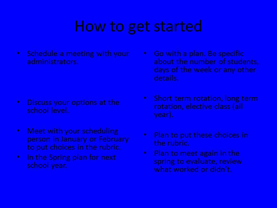 How to get started Schedule a meeting with your administrators.