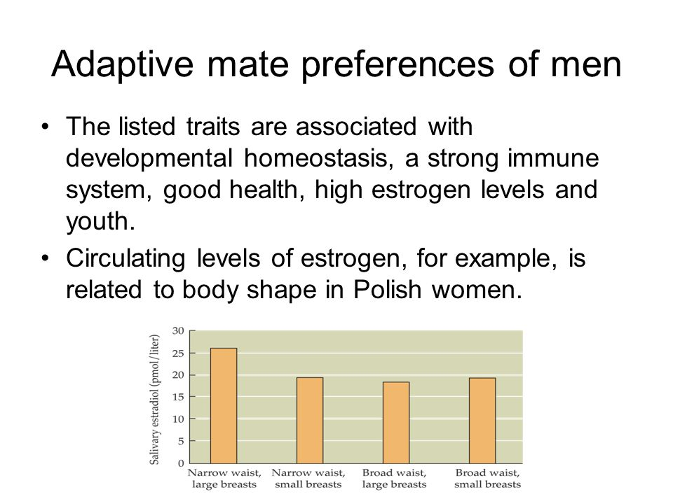 Adaptive mate preferences of men The listed traits are associated with developmental homeostasis, a strong immune system, good health, high estrogen l