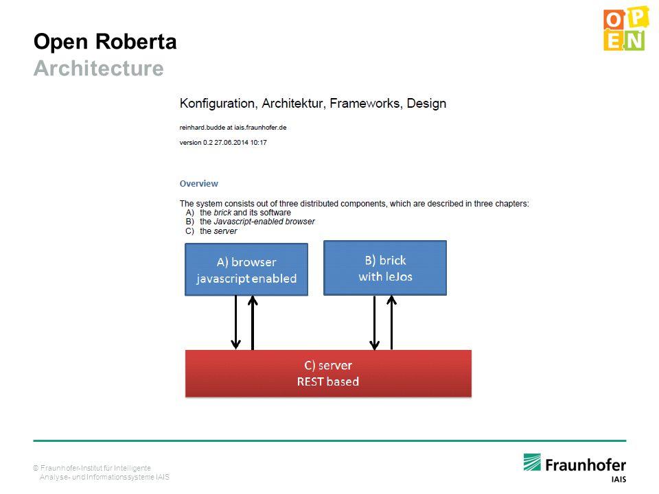 © Fraunhofer-Institut für Intelligente Analyse- und Informationssysteme IAIS Open Roberta Architecture