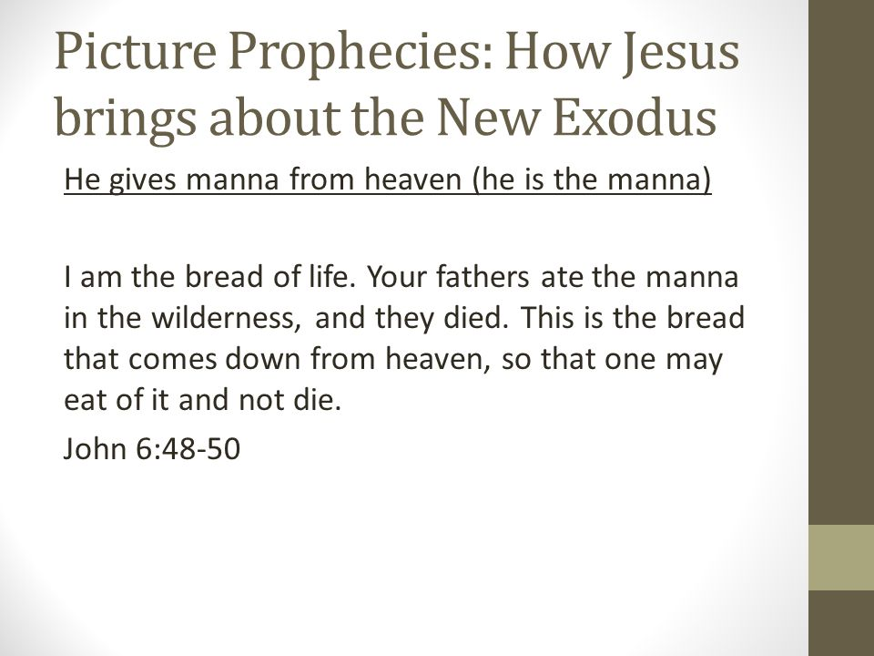 Picture Prophecies: How Jesus brings about the New Exodus He gives manna from heaven (he is the manna) I am the bread of life.