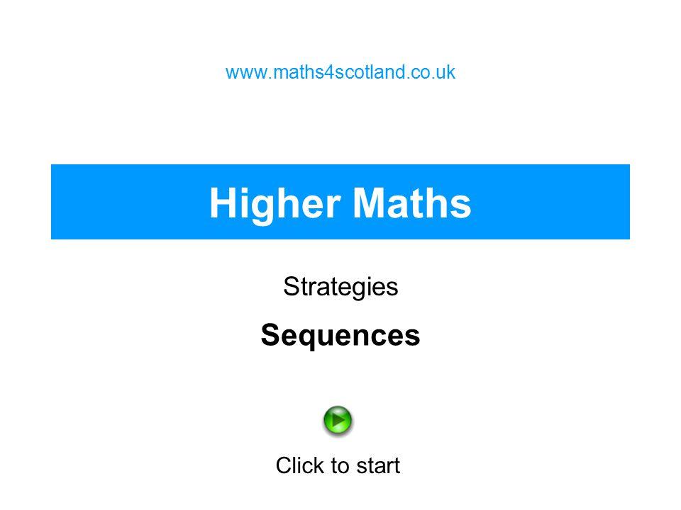 Higher Maths Strategies www.maths4scotland.co.uk Click to start Sequences
