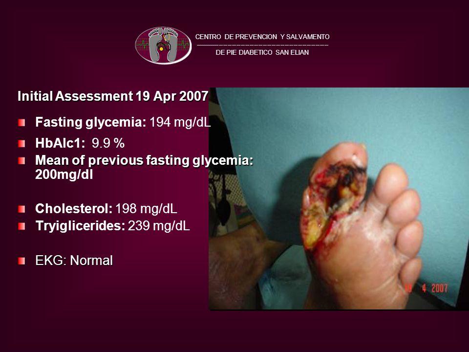 Initial Assessment 19 Apr 2007 Fasting glycemia: 194 mg/dL HbAlc1: 9.9 % Mean of previous fasting glycemia: Mean of previous fasting glycemia: 200mg/dl Cholesterol: 198 mg/dL Tryiglicerides: 239 mg/dL EKG: Normal CENTRO DE PREVENCION Y SALVAMENTO ------------------------------------------------------------- DE PIE DIABETICO SAN ELIAN