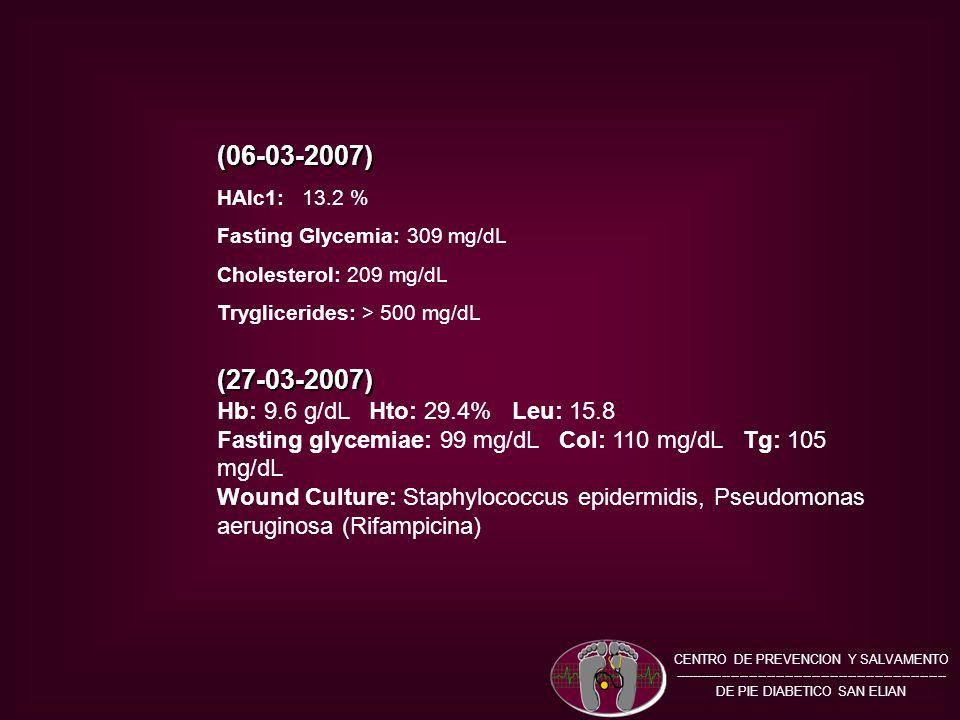 (06-03-2007) HAlc1: 13.2 % Fasting Glycemia: 309 mg/dL Cholesterol: 209 mg/dL Tryglicerides: > 500 mg/dL(27-03-2007) Hb: 9.6 g/dL Hto: 29.4% Leu: 15.8 Fasting glycemiae: 99 mg/dL Col: 110 mg/dL Tg: 105 mg/dL Wound Culture: Staphylococcus epidermidis, Pseudomonas aeruginosa (Rifampicina) CENTRO DE PREVENCION Y SALVAMENTO ------------------------------------------------------------- DE PIE DIABETICO SAN ELIAN