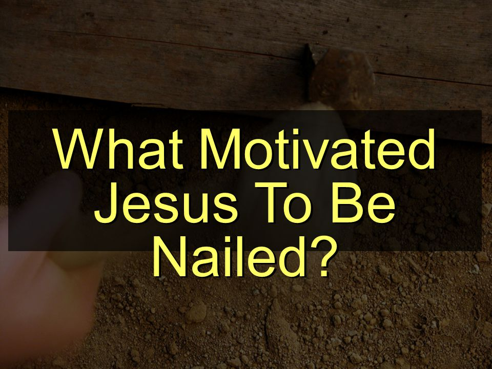 What Motivated Jesus To Be Nailed?