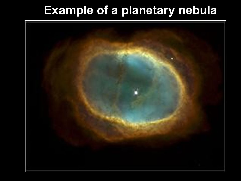 After all the fusion stops inside a red giant, the gases float away and only the core remains This core is called a White Dwarf This leftover gas is called a Planetary Nebula