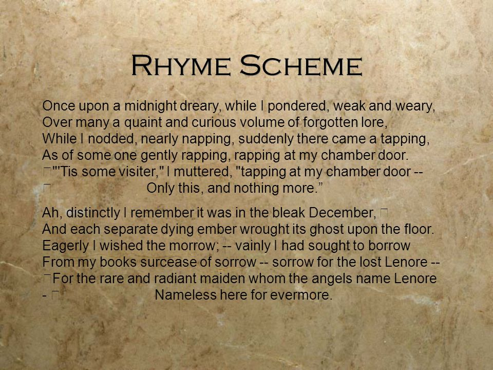 Rhyme Scheme Once upon a midnight dreary, while I pondered, weak and weary, Over many a quaint and curious volume of forgotten lore, While I nodded, nearly napping, suddenly there came a tapping, As of some one gently rapping, rapping at my chamber door.