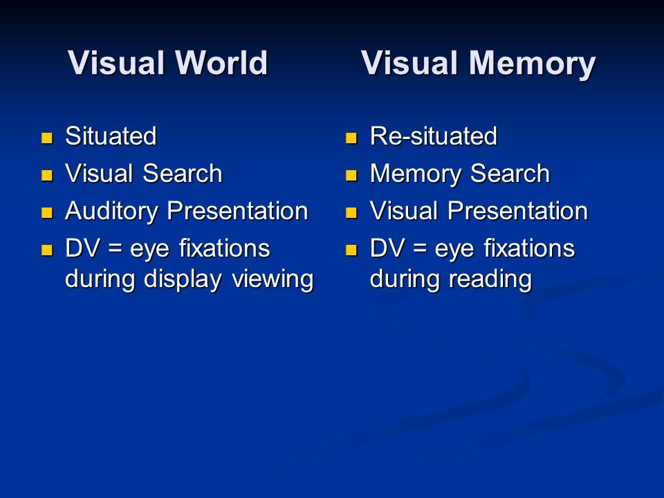 Visual World Visual Memory Situated Situated Visual Search Visual Search Auditory Presentation Auditory Presentation DV = eye fixations during display viewing DV = eye fixations during display viewing Re-situated Memory Search Visual Presentation DV = eye fixations during reading