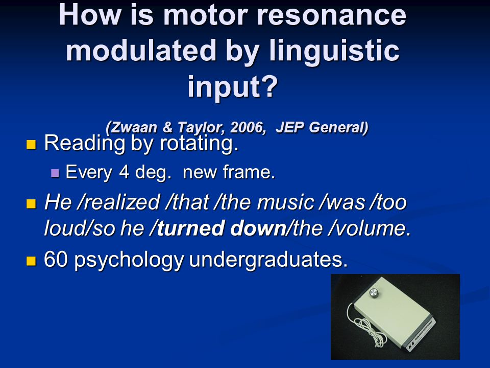 How is motor resonance modulated by linguistic input.