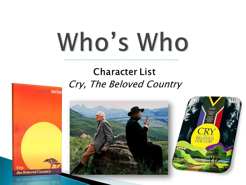 Character List Cry, The Beloved Country