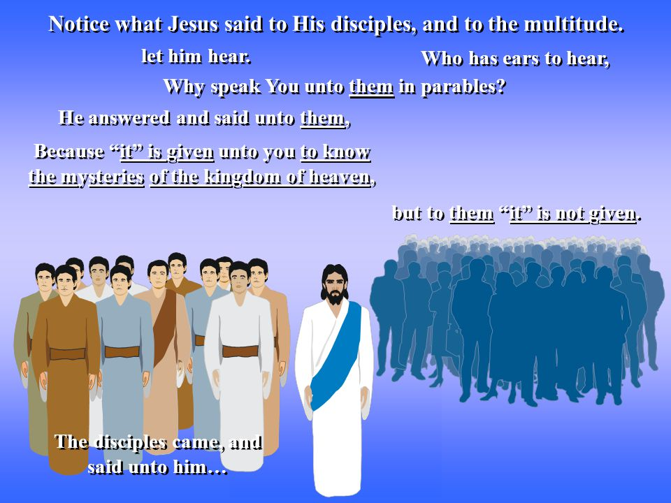 Notice what Jesus said to His disciples, and to the multitude.