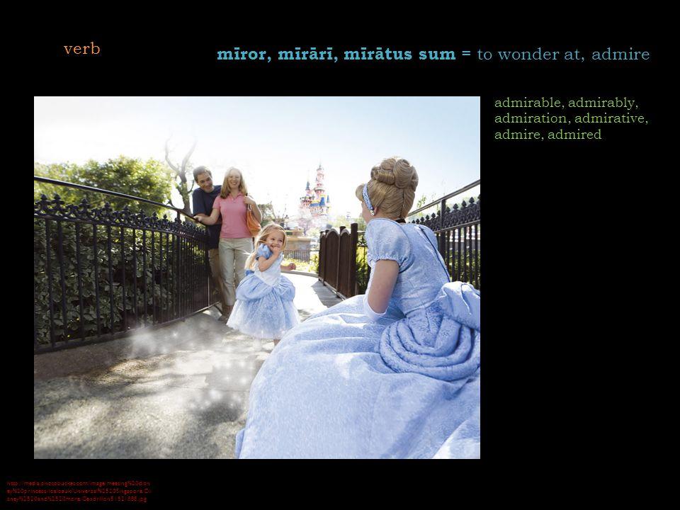 http://media.photobucket.com/image/meeting%20disn ey%20princess/loaloauk/Universal%2520Singapore/Di sney%2520and%2520more/Cendrillon51521888.jpg mīror, mīrārī, mīrātus sum = to wonder at, admire admirable, admirably, admiration, admirative, admire, admired verb