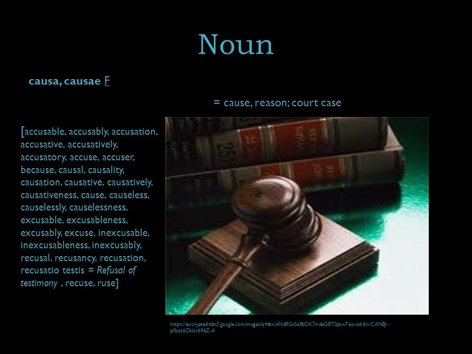 Noun causa, causae F = cause, reason; court case [ accusable, accusably, accusation, accusative, accusatively, accusatory, accuse, accuser, because, causal, causality, causation, causative, causatively, causativeness, cause, causeless, causelessly, causelessness, excusable, excusableness, excusably, excuse, inexcusable, inexcusableness, inexcusably, recusal, recusancy, recusation, recusatio testis = Refusal of testimony, recuse, ruse] https://encrypted-tbn3.google.com/images q=tbn:ANd9GcSa8bOK7mdeGBT0pzwTeovixh6VvCAN8J-- jzfbztADklsv696Z-A