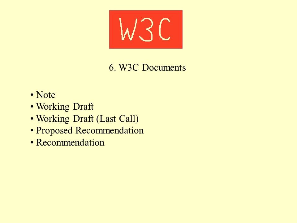 6. W3C Documents Note Working Draft Working Draft (Last Call) Proposed Recommendation Recommendation