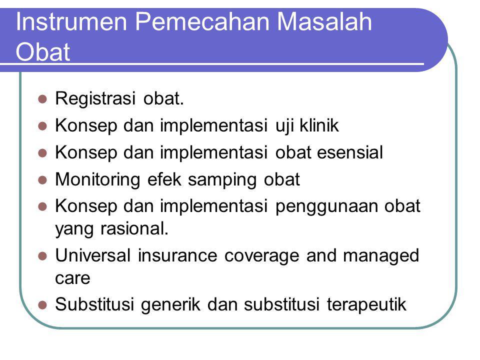 Instrumen Pemecahan Masalah Obat Registrasi obat. Konsep dan implementasi uji klinik Konsep dan implementasi obat esensial Monitoring efek samping oba