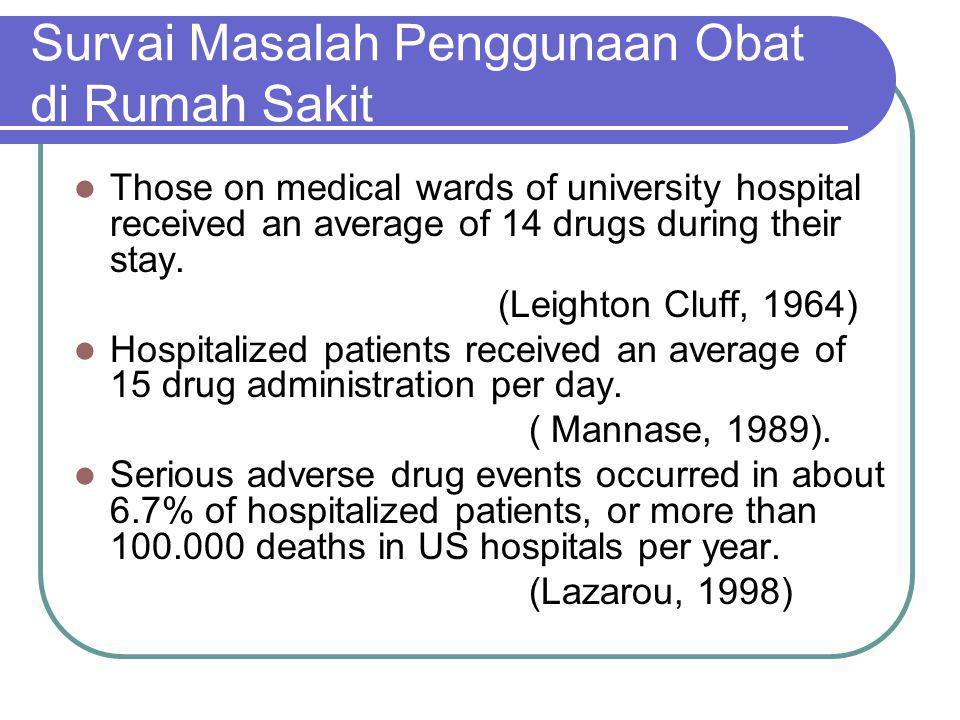 Survai Masalah Penggunaan Obat di Rumah Sakit Those on medical wards of university hospital received an average of 14 drugs during their stay. (Leight