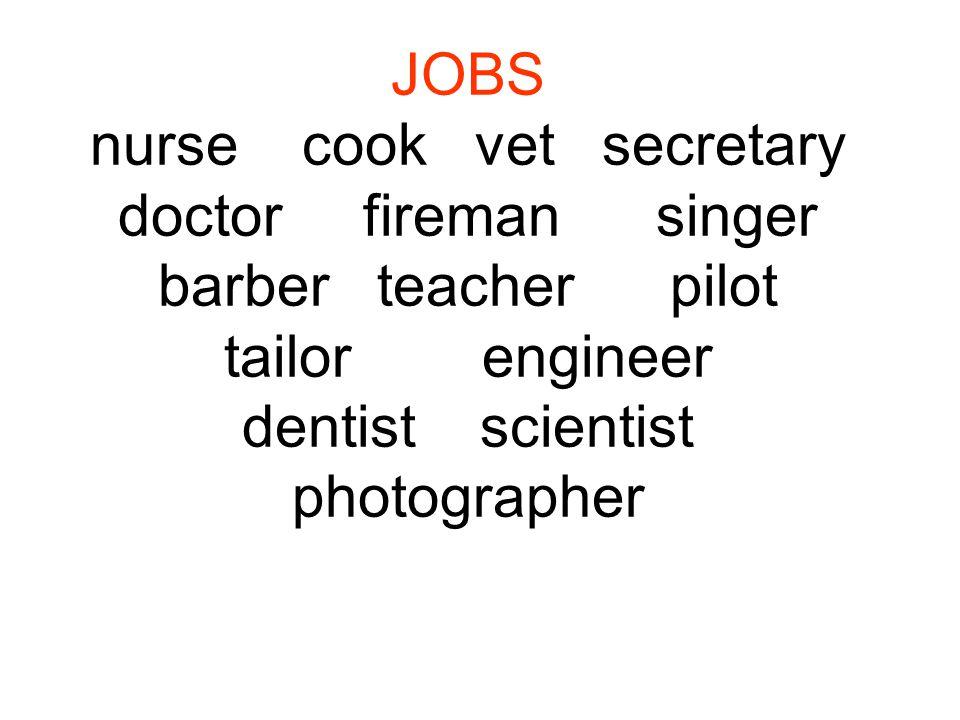 JOBS nurse cook vet secretary doctor fireman singer barber teacher pilot tailor engineer dentist scientist photographer