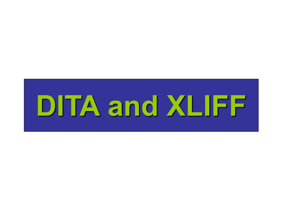 Background I am co chair of the OASIS XLIFF TCI am co chair of the OASIS XLIFF TC I wrote an open source tool called xliffRoundTrip Tool ()I wrote an open source tool called xliffRoundTrip Tool (http://sourceforge.net/projects/xliffroundtrip/)http://sourceforge.net/projects/xliffroundtrip/ It works great with document-centric XML filesIt works great with document-centric XML files I wrote the tool without much thought about topic-based XML filesI wrote the tool without much thought about topic-based XML files
