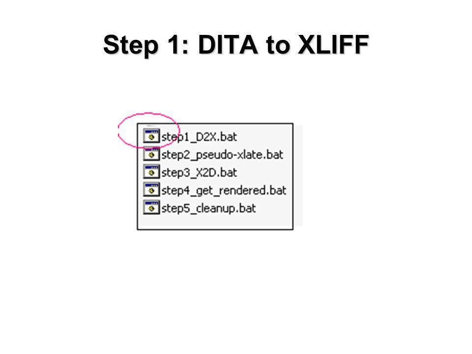 Step 1: DITA to XLIFF