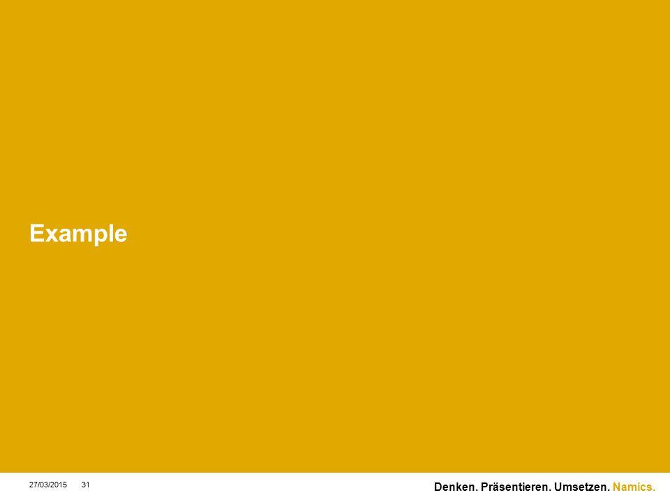 Namics. Example 27/03/201531 Denken. Präsentieren. Umsetzen.