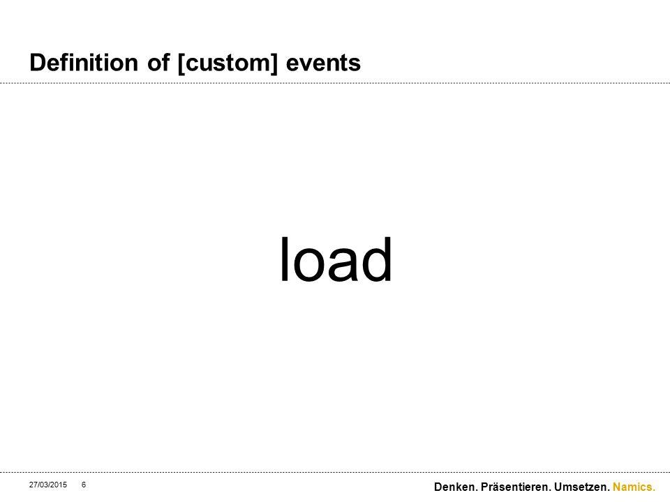 Namics. Definition of [custom] events 27/03/2015 Denken. Präsentieren. Umsetzen. 7 click