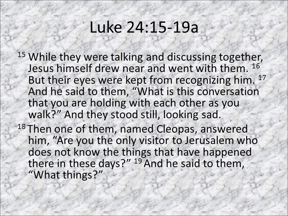 Luke 24:15-19a 15 While they were talking and discussing together, Jesus himself drew near and went with them.