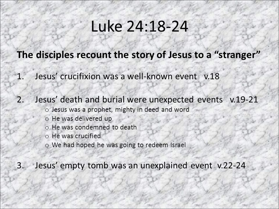 Luke 24:18-24 The disciples recount the story of Jesus to a stranger 1.